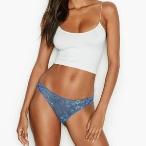 NWT VS Dream Angels floral shine blue lace panty S